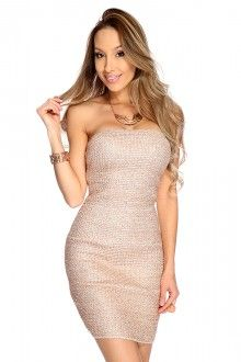 Rose Gold Tinsel Sexy Bandage Party Dress