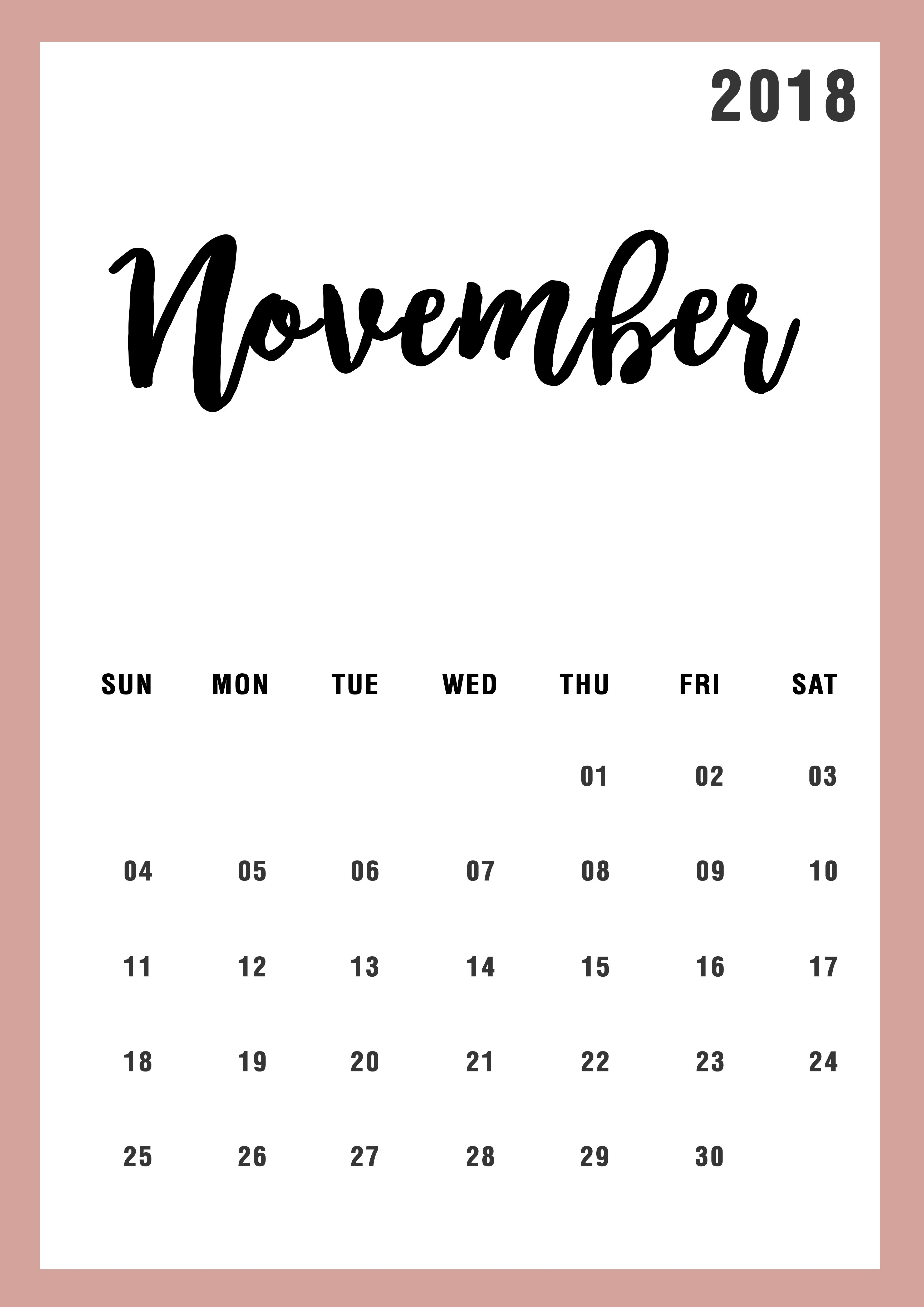 November 2018 Calendar Design Calendar Design Calendar 2018