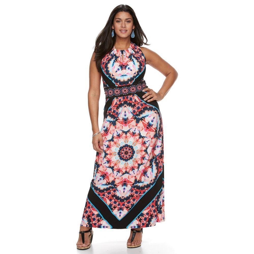 Plus size suite kaleidoscope halter maxi dress black coral multi