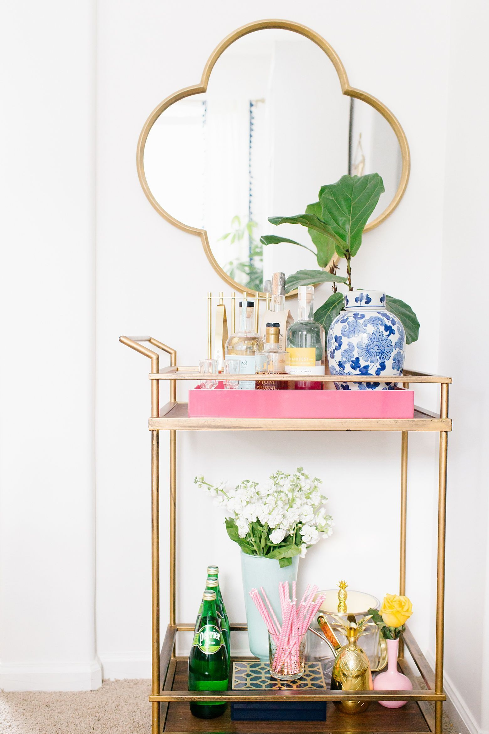 Colorful Bar Cart decor in this colorful dining room tour on Megan ...