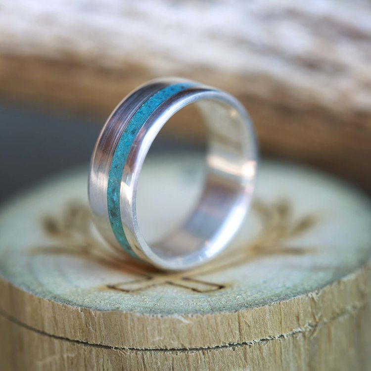 Silver Turquoise Wedding Band For Men By Staghead Designs