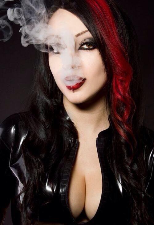 Goth smoking fetish