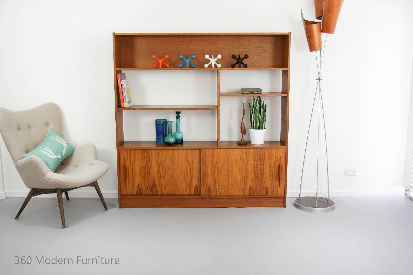 Mid century room divider shelving sideboard bookcase retro vintage