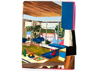 Mickalene Thomas   Interior: Blue Couch with Green Owl, 2012, Rhinestones, acrylic, oil, and enamel on wood panel, 108 x 84 inches