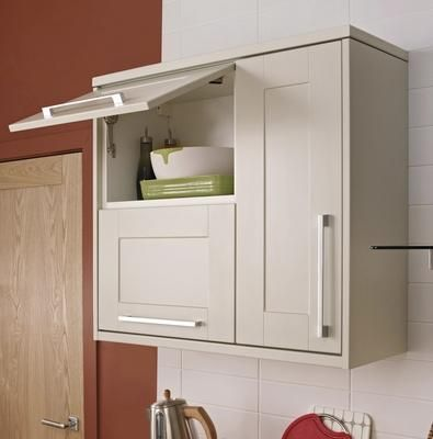 Half-Height Wall Units with Chrome Effect Square Bar Handles | New ...