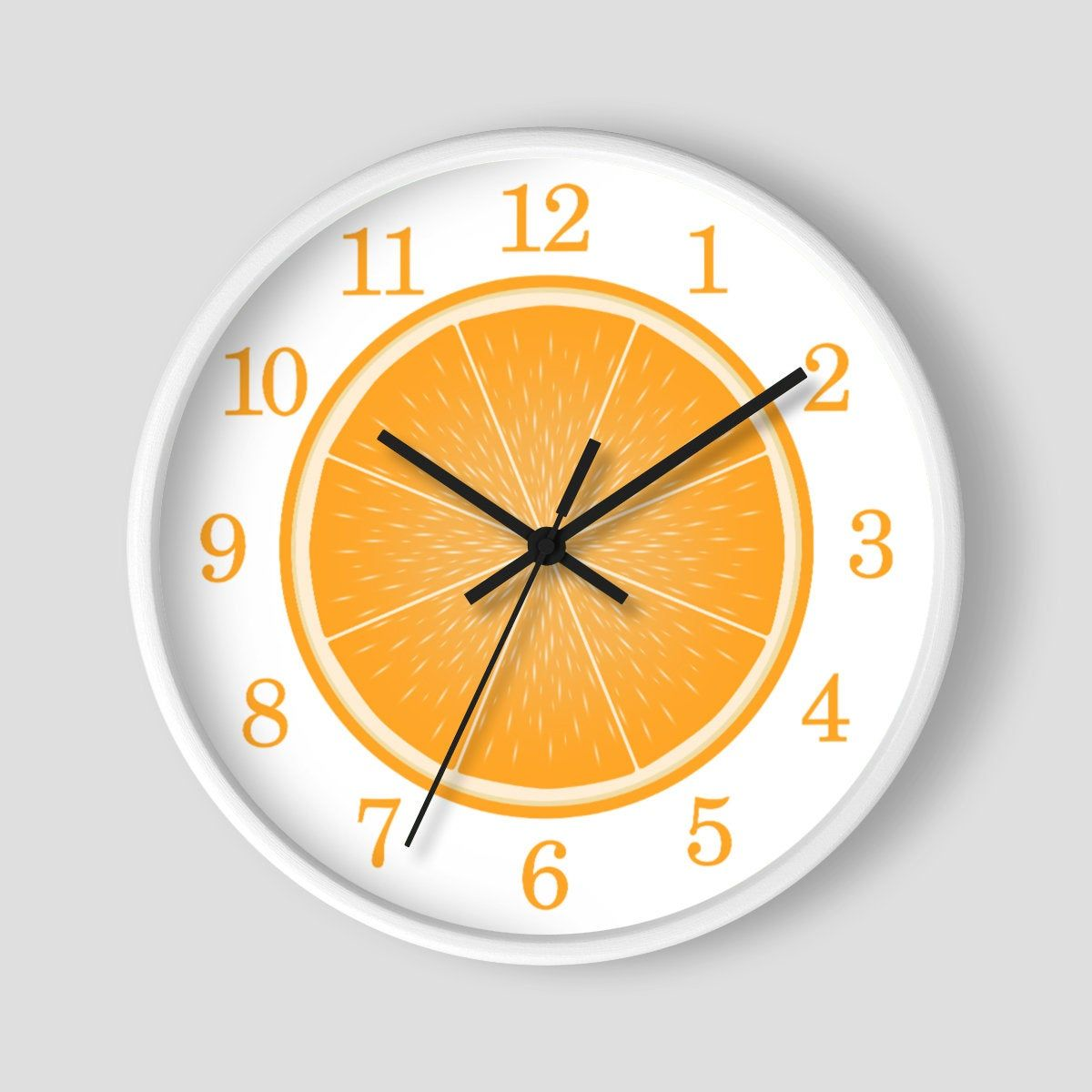 Sliced Orange Wall Clock Citrus Fruit Food Clock Design With White Wood Frame 10 Inch Round Clock Made To Order In 2020 Orange Wall Clocks Wall Clock Orange Walls
