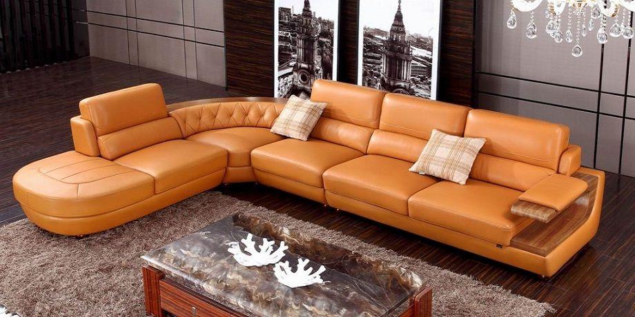 Orange Leather Corner Sofa Muebles