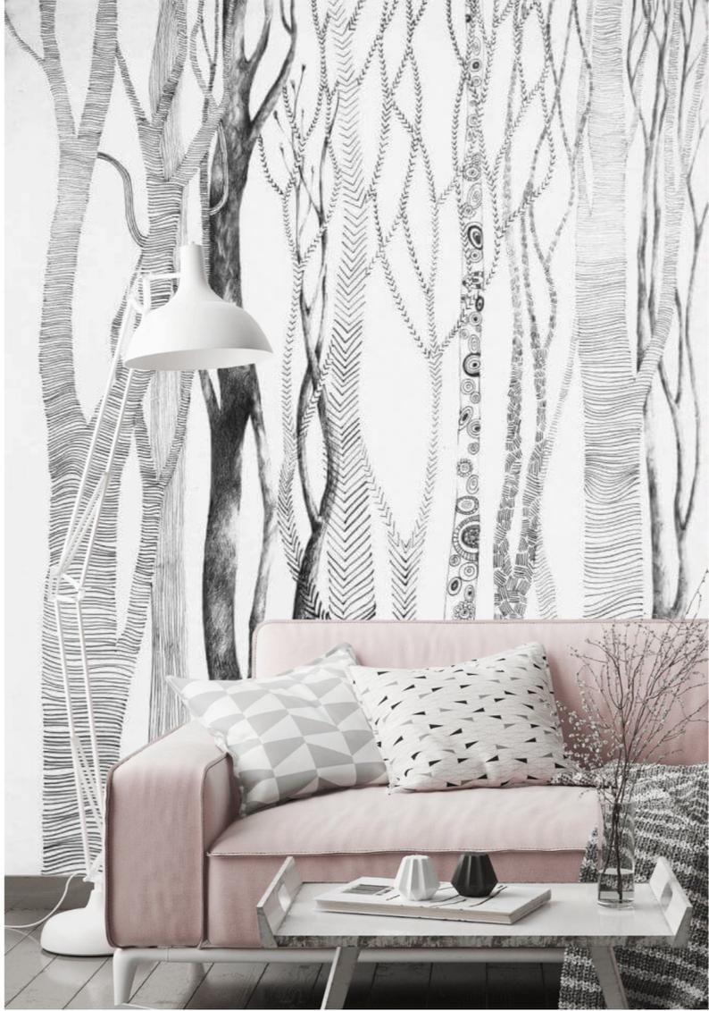 Birch Tree Peel And Stick Wallpaper Mural Removable Forest Etsy Peel And Stick Wallpaper White Walls Removable Wall Murals