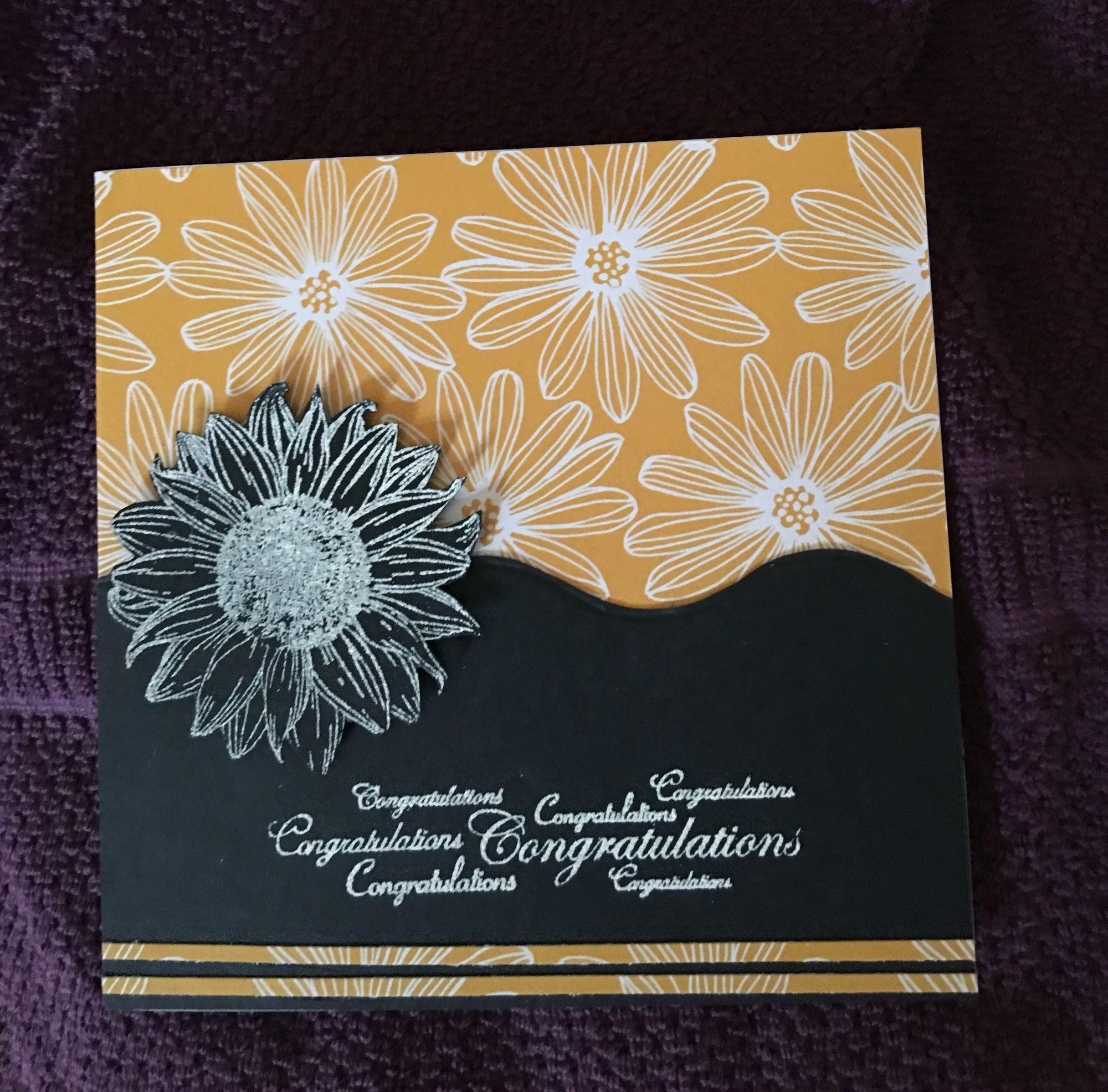 Embossed Sunflower Congratulations card...