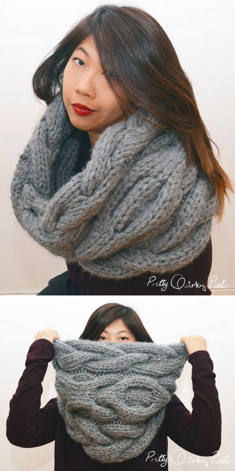 DIY Knit Chunky Yarn Infinity Cable Scarf Tutorial and