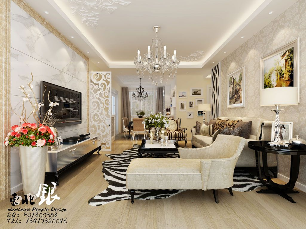 exquisite living room - damask cream wallpaper. silver pinstripe