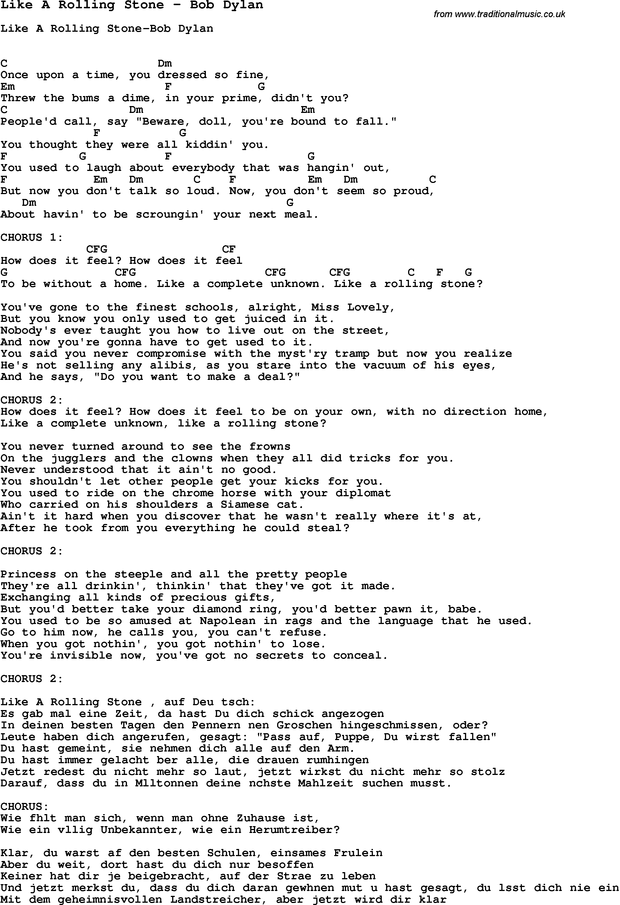 Song Like A Rolling Stone By Bob Dylan With Lyrics For Vocal