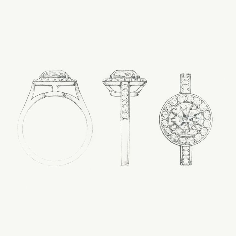 A Sketch Of The Tiffany Embrace Diamond Engagement Ring