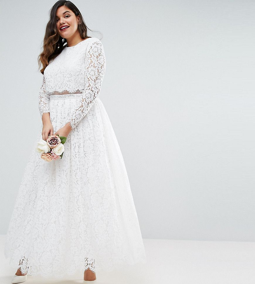 ASOS CURVE BRIDAL Lace Long Sleeve Maxi Prom Dress White