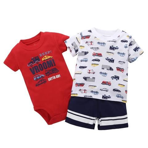 498fae2e3 3PCS Set new bron baby boy Tops truck print T Shirts+romper+shorts ...