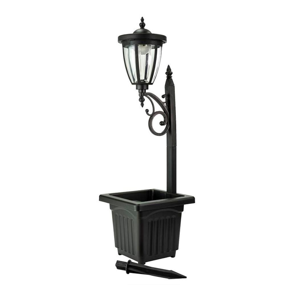 Sunray Kambria 29 In Black Multi Function Outdoor Solar Lamp Post