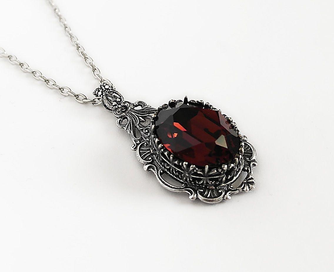 Gothic Jewelry by Aranwen :: Dark Burgundy Red Swarovski ...
