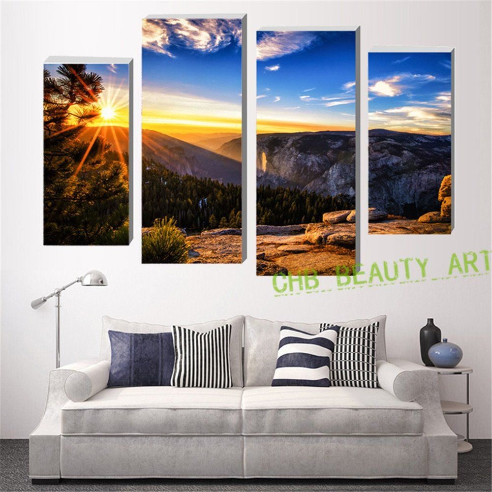 Living Room Canvas Paintings 4 Piece Canvas Painting No Frame Sea Sunshine Mountain Wall