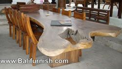 Large Dining Table Natural Shape. Outdoor dining table from Bali Indonesia
