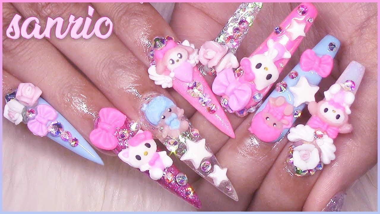 Fast Easy 3d Nail Art Tutorial Sanrio Hello Kitty Mymelody Little Twin Stars Youtube Hello Kitty Nails Cat Nails 3d Nails