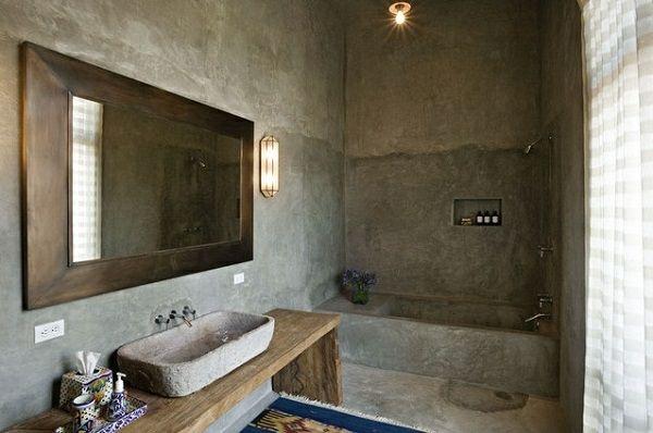 Dispersionsfarbe badezimmer ~ Wandfarbe betonoptik wandgestaltung grau badezimmer pinterest