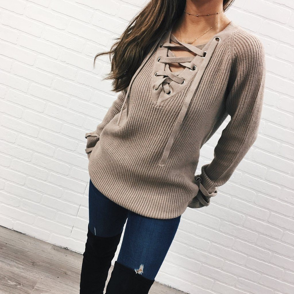 Laced Up Long Sweater - Tan | Christmas 2016 | Pinterest | Long ...
