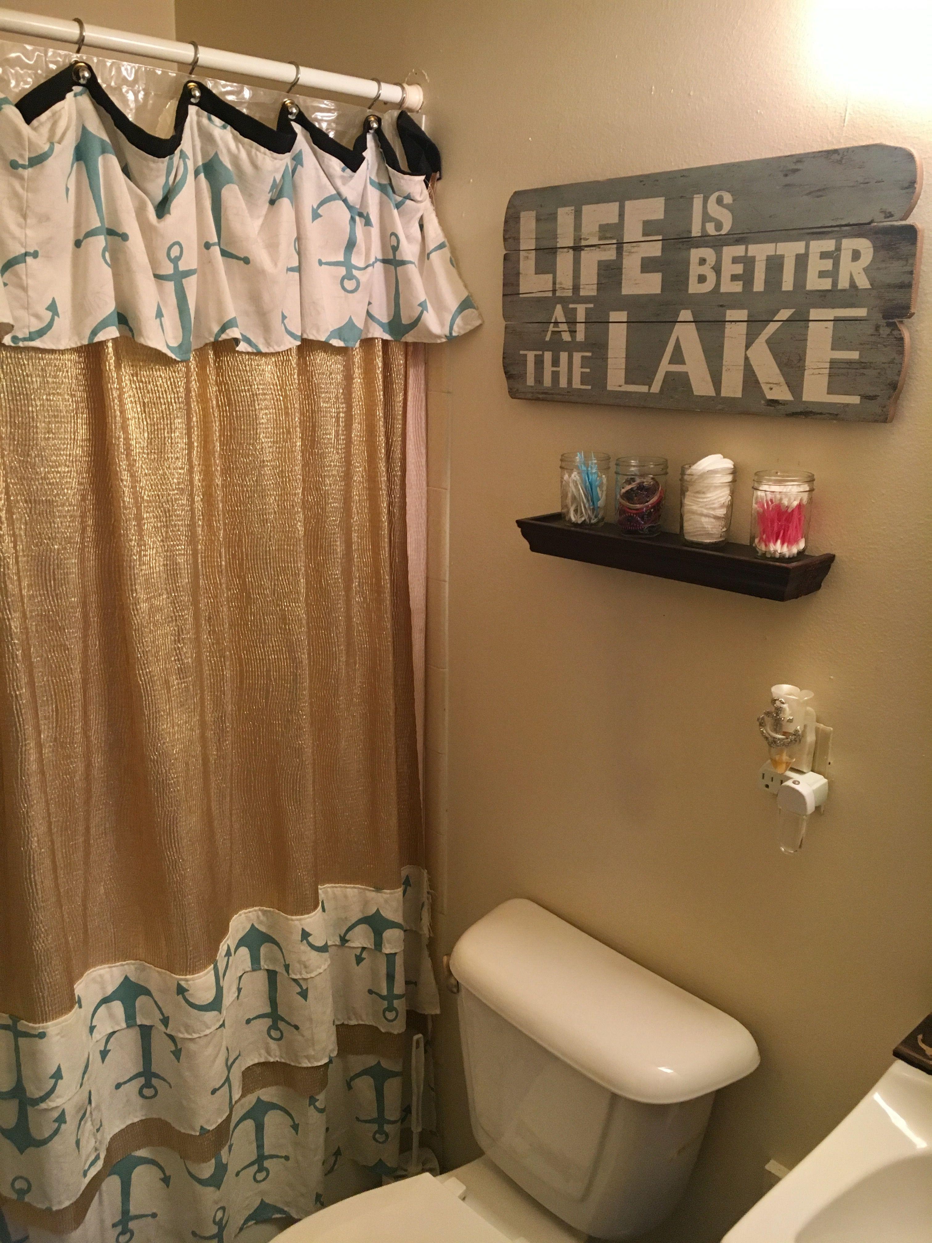 Diy Shower Curtain Lake Themed Bathroom Diy Bathroom Diy