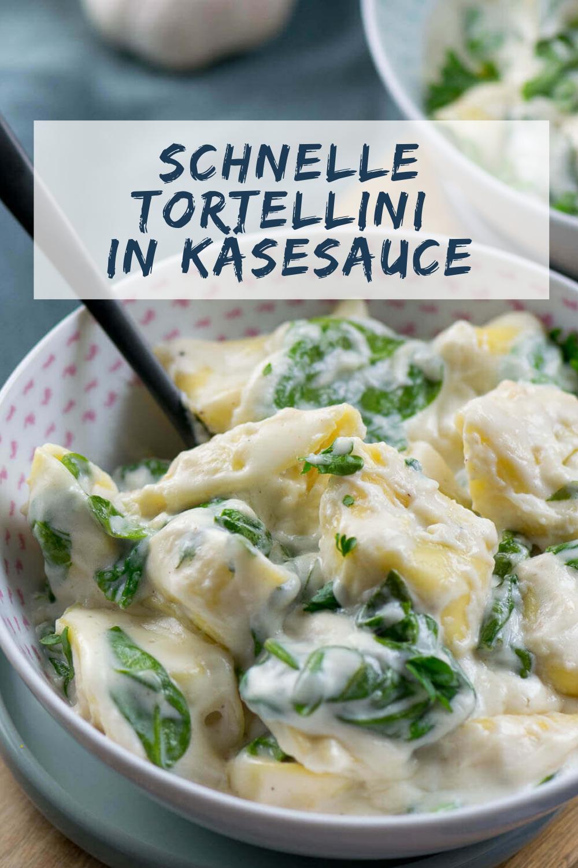 Spinat Tortellini in Parmesan Käse Sauce in nur 15 Minuten