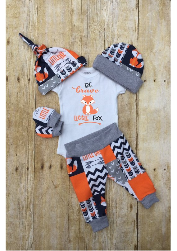 Photo of Fox Boys Coming Home Outfit, Tribal Fox Baby Boy Outfit, Be Brave Fox Newborn Outfit, Baby Boy Layette Hat Set, Infant Baby Shower Gift