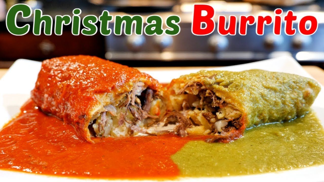 Christmas burrito shredded beef potato with red and green