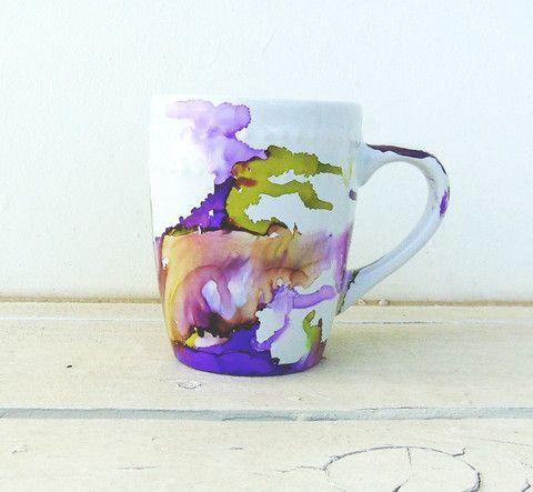 Watercolor Art Mugs Home Alcohol Ink Art Hand Painted Mugs