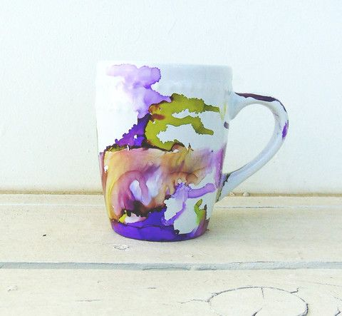 Watercolor Art Mugs Home Alcohol Ink Art Hand Painted Mugs