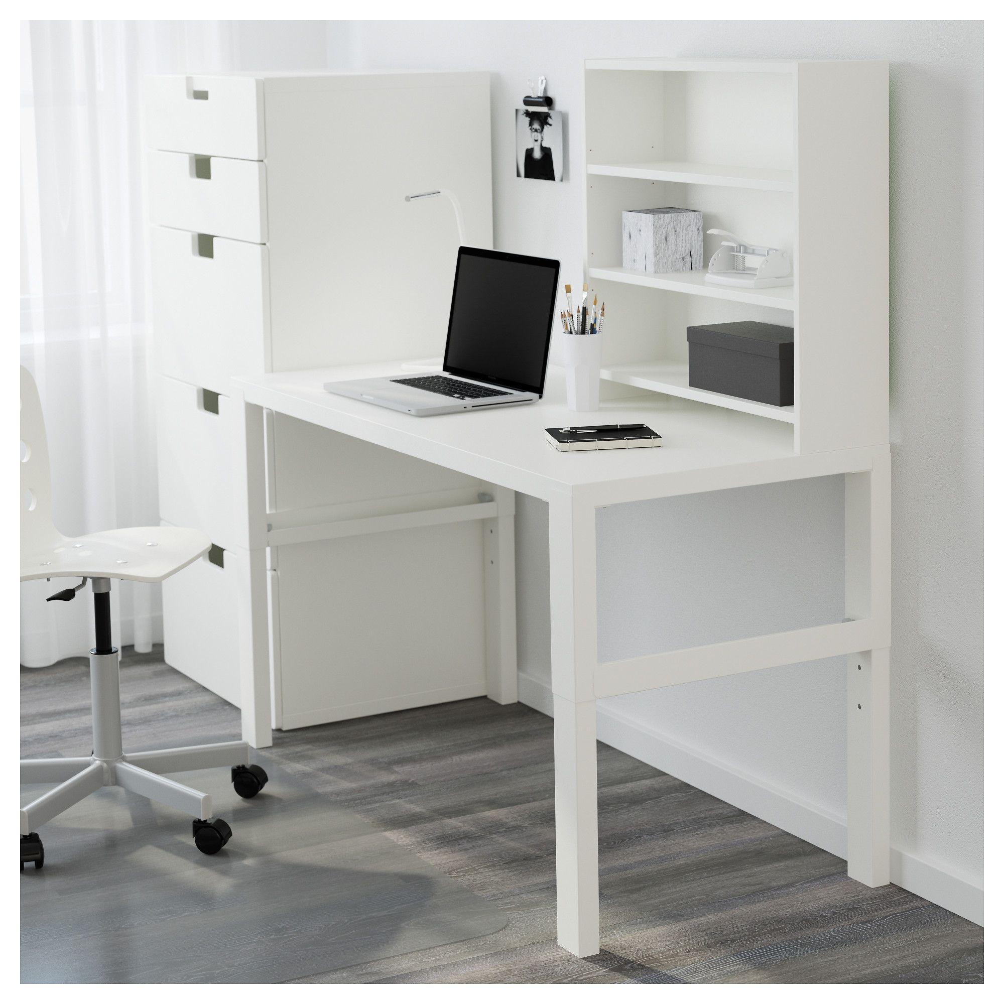 Scrivanie ikea e postazioni lavoro per casa; Pahl Desk With Add On Unit White 128x58 Cm Find It Here Ikea Scrivania Con Scaffali Scrivania Ikea Idee Ikea