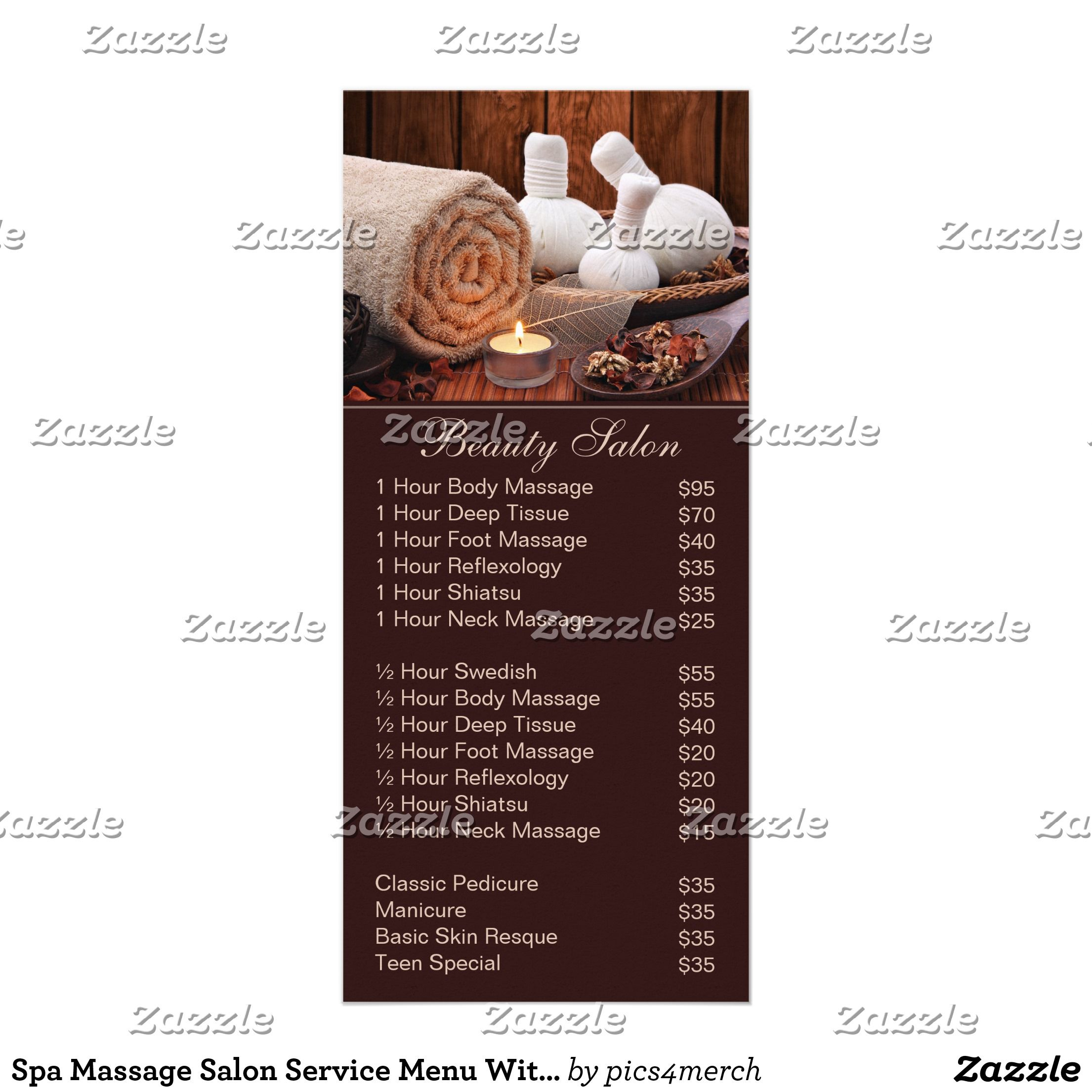 Spa Massage Salon Service Menu With Price List  Salon Services
