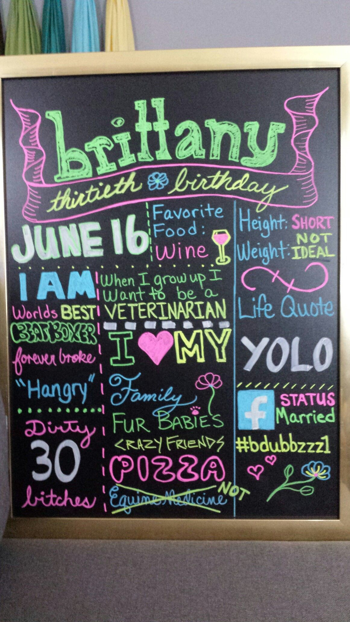 Dirty 30 Veterinary Birthday Chalk Board