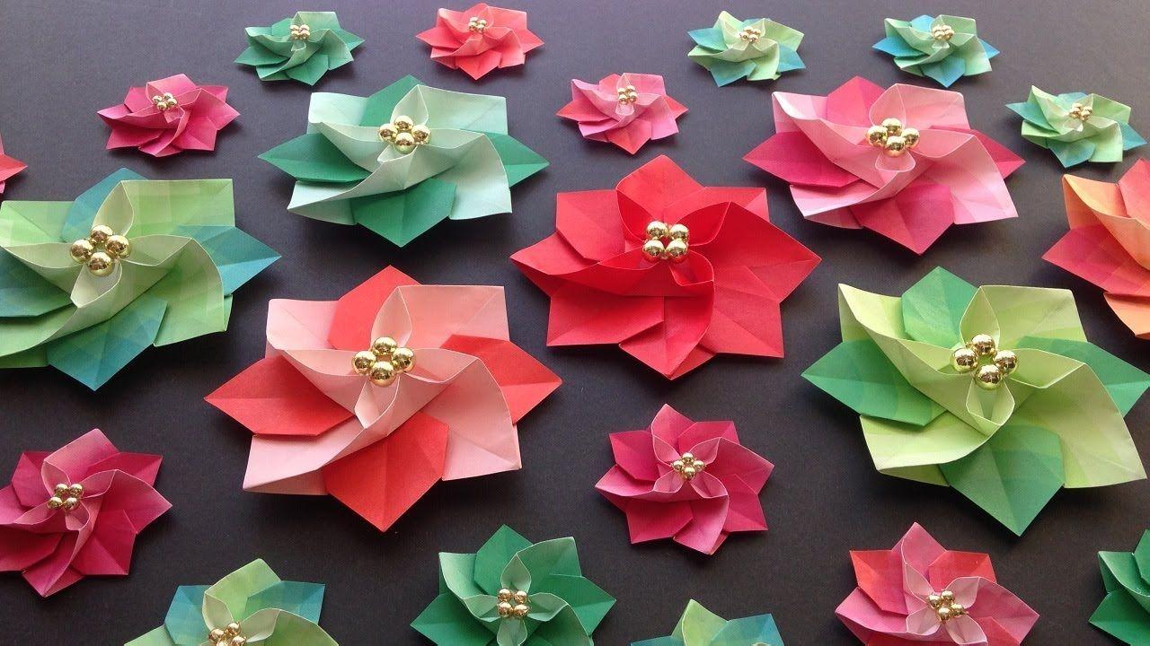 クリスマス折り紙 ポインセチア 立体 1枚 折り方 Origami Christmas Poinsettia Tutorial Niceno1 Youtube Christmas Origami Origami Gifts Flower Crafts