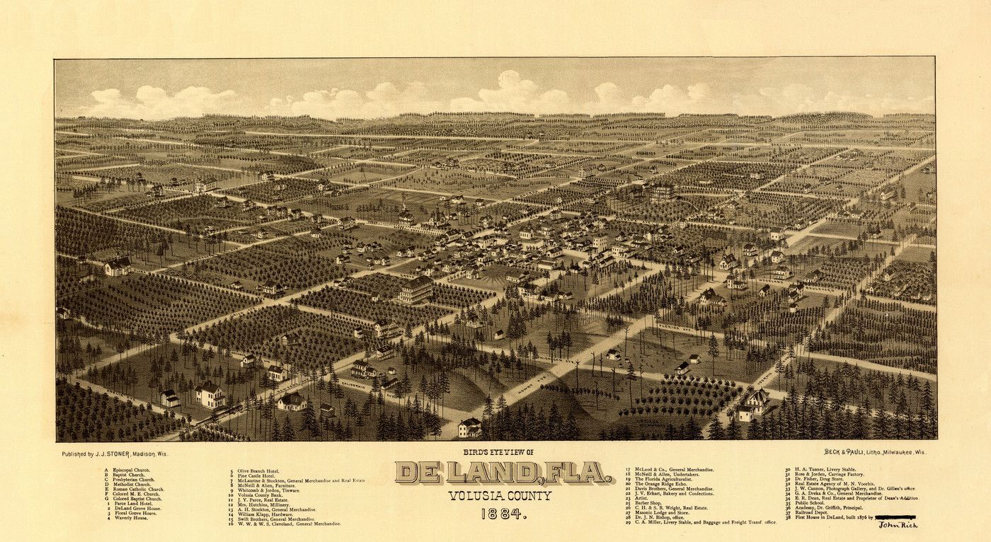 Historic Map Of DeLand Florida Volusia County Poster Products - Us map 1884