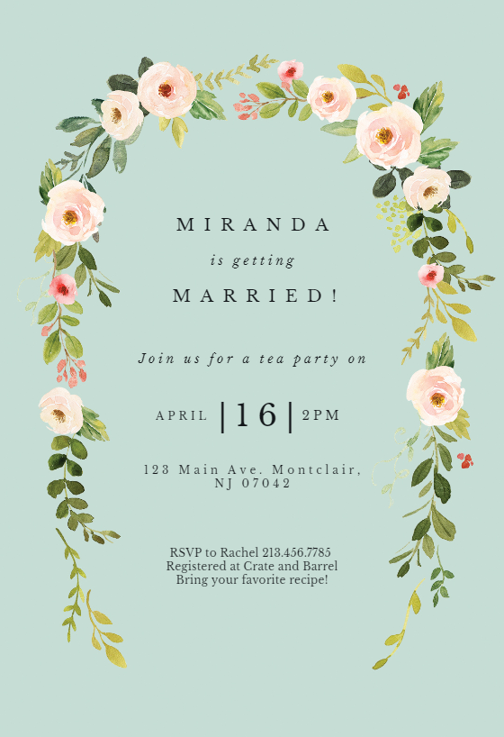 Falling Flowers Invitation Template Customize Add Text And Photos