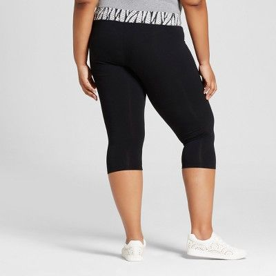 5a854580215 Women s Plus Size Capri Leggings - Ava   Viv Black Fern Print 4X ...