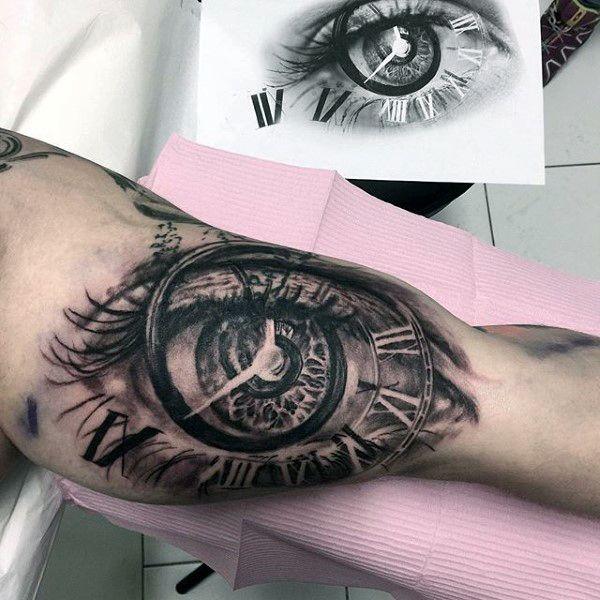 Eye And Multiple Clock Tattoo: 3d Eye Clock Roman Numeral Mens Bicep Tattoo Designs