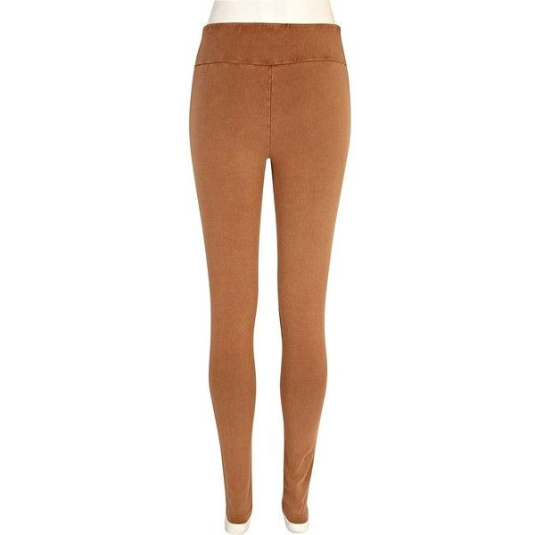 River Island Beige acid wash high waisted leggings ($10) ❤ liked on Polyvore featuring pants, leggings, sale, high-waisted leggings, highwaist pants, high-waisted pants, brown leggings and high rise leggings