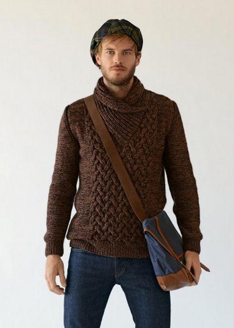 732 Mens Shawl Collar Sweater Fallwinter 13 14 Bergere De France