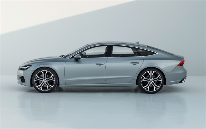 Download wallpapers Audi A7 Sportback, 2018, 4k, side view, new A7 2018, gray, G…