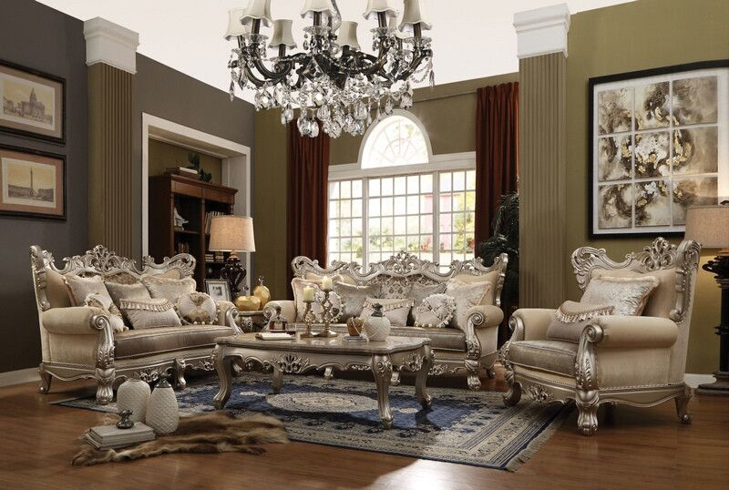Acme 51040 41 2 Pc Ranita Champagne Finish Wood Fabric Sofa And