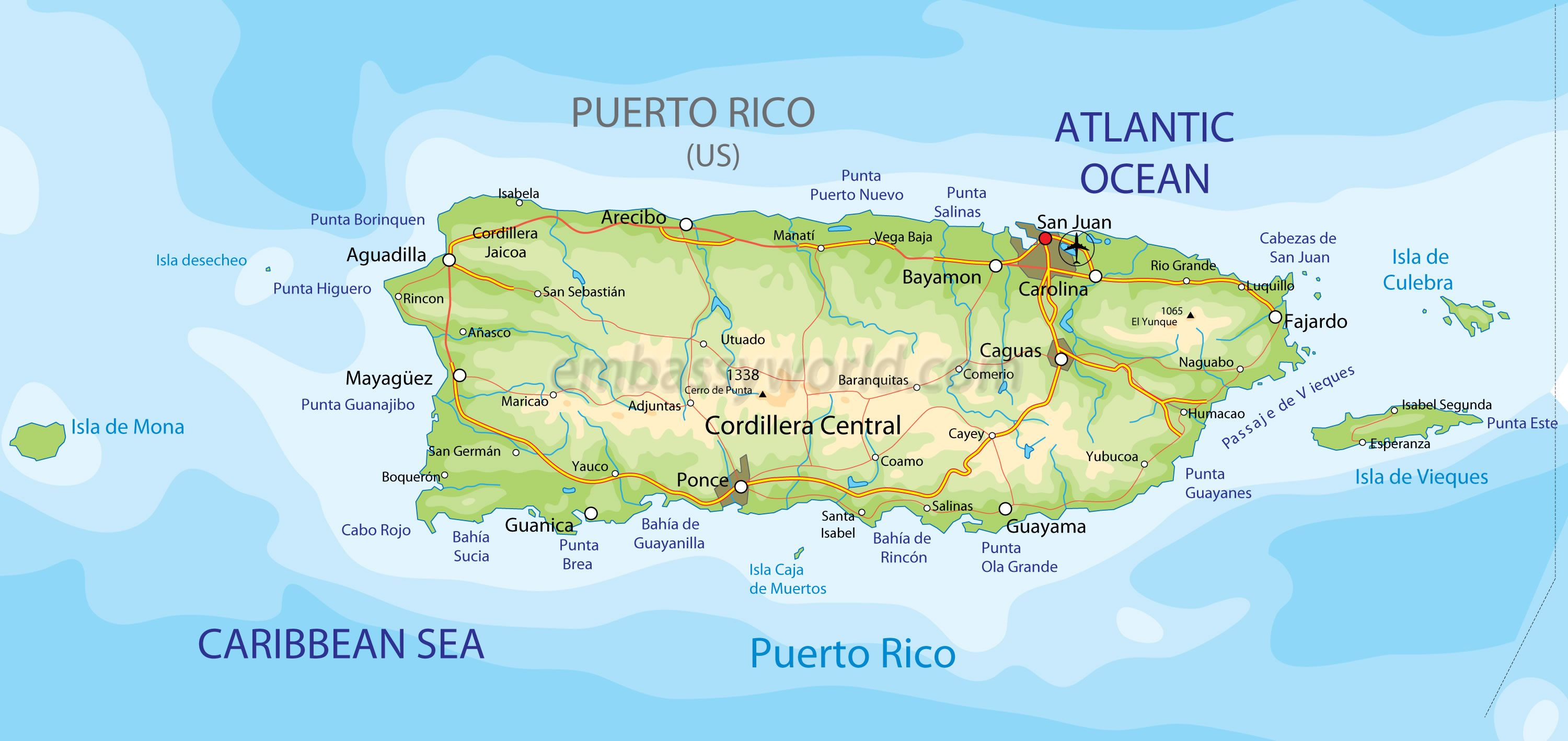 Puerto Rico Map Physical Puerto rico map Vacation travel and