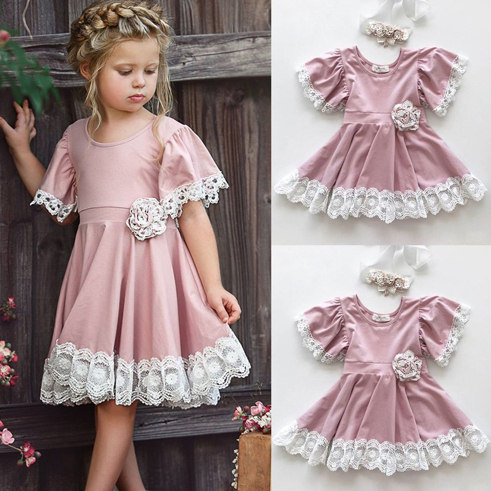 106a775bd Kids Baby Girls Dress Lace Floral Party Dress Short Sleeve Solid Dress  Clothes | eBay