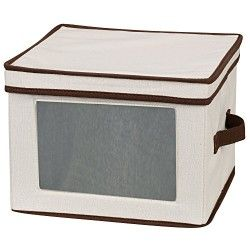 Household Essentials Dinner Plate Storage Chest Natural Canvas With Brown Trim Household Essentials Plate Storage Dinnerware Storage