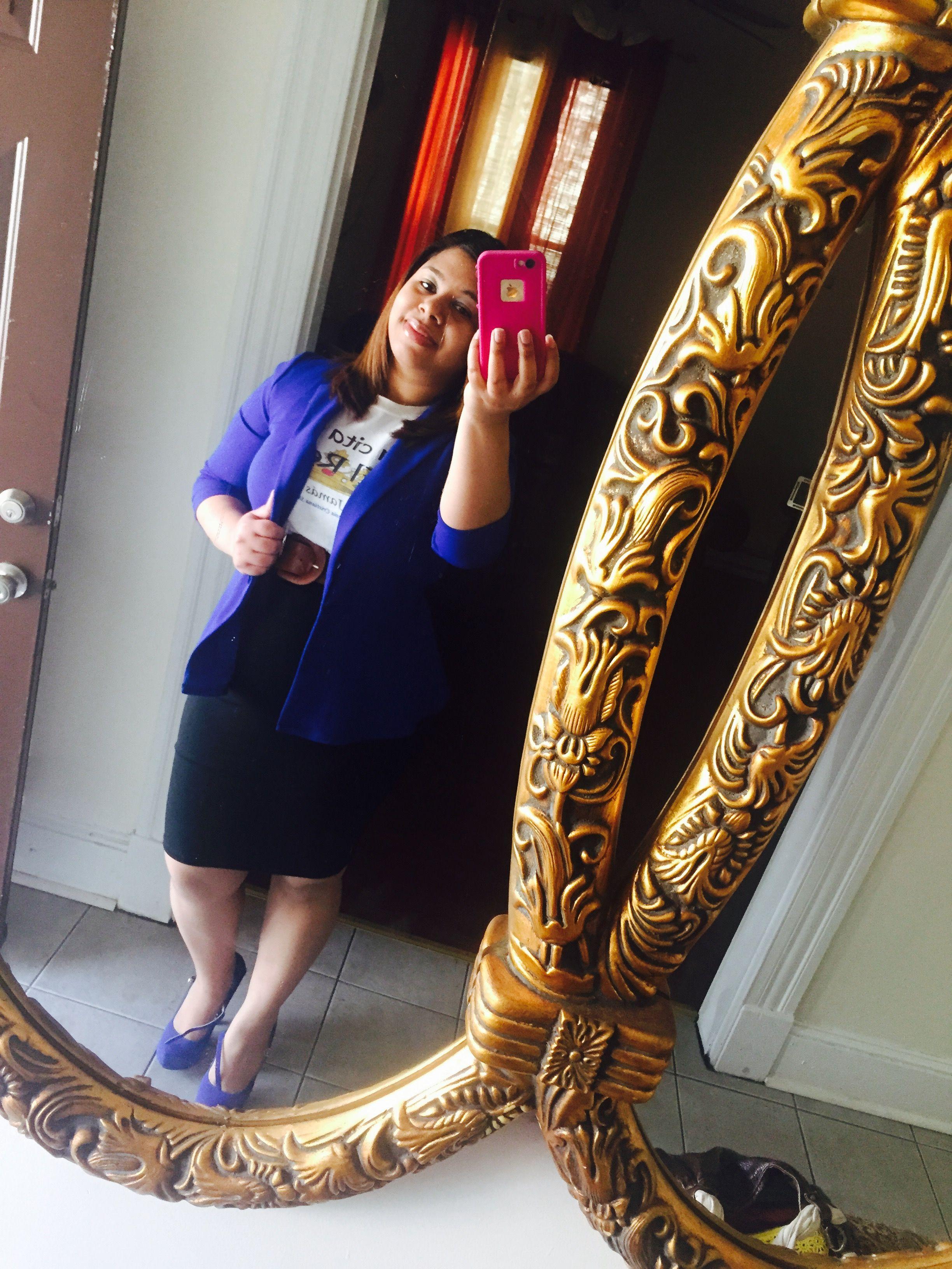 Zapatos y blazer blue, falda negra, corea brown y poloche de Una Cita Con El Rey