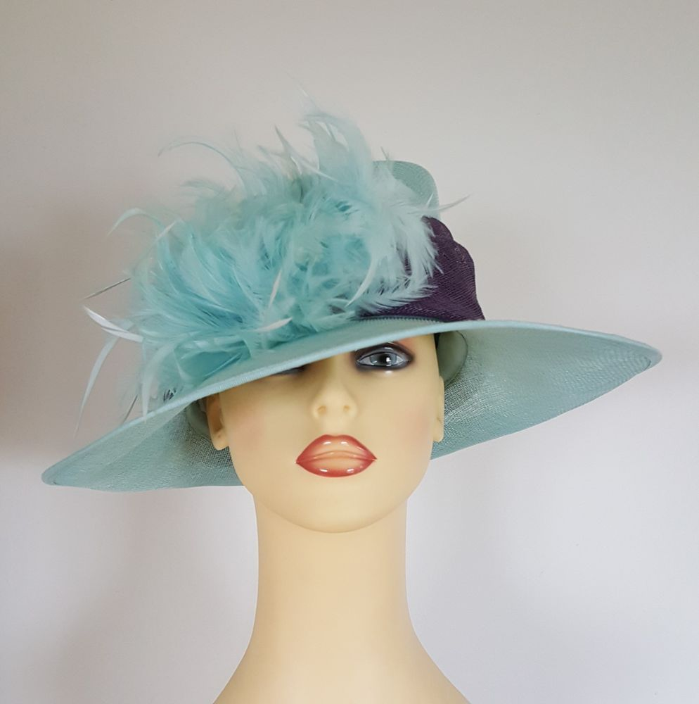 Ladies Occasion Hat Wedding Races Mint Green / Purple Band By ...