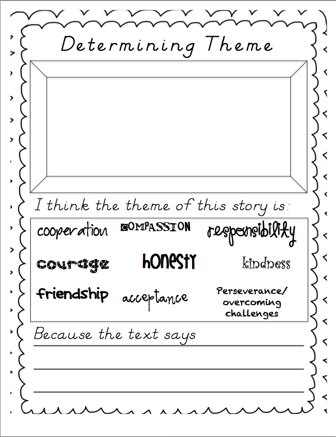 Miss Stiths Second Grade Determining Theme in Literature FREEBIE – Finding Theme Worksheets